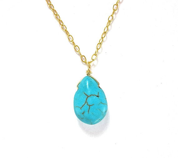 Mariage - Drop Turquoise Gold Filled 14 Karat Chain Necklace- Good Luck Charm December Birthstone