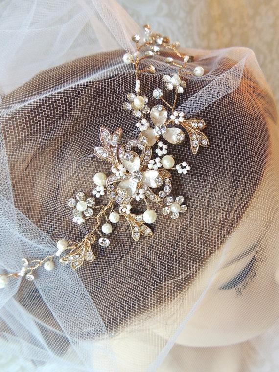 Wedding - Wedding Hair Accessories, Bridal Halo crystal headband, silver wedding hair piece, gold bridal hair accessories, gold loops headband