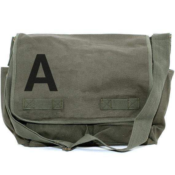 Hochzeit - Messenger Bag, Monogrammed Bag, Personalized Bag, Initial Bag, Crossbody Canvas Bag, Personalized Groomsmen Gift, Helvetica, Typography, Men