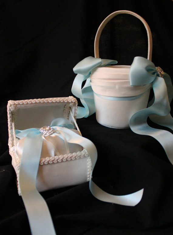 Wedding - Ivory Flower Girl Basket and Ring Bearer Chest Baby Blue Satin Ribbons-Custom Ribbon Colors