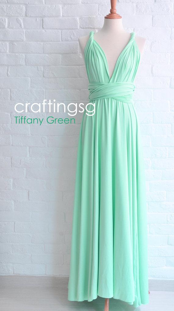 Bridesmaid Dress Infinity Seafoam Green Floor Length Wrap Convertible Wedding