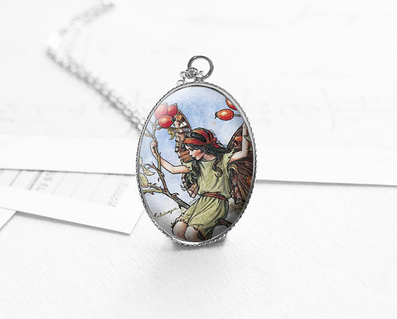 Wedding - Romantic Gift, Flower Fairy Necklace, Girlfriend Gift, Fairytale Jewelry, Fairytale Wedding, Garden Fairies Pendant, N418