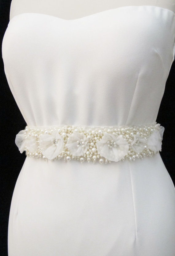 Hochzeit - Pearl Beaded Bridal Wedding Sash Belt  with pearls rhinestones crystal beads ivory Ready to Ship