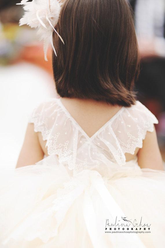 Wedding - Flower Girl Tutu Dress, lace back flower girl dress, couture flower girl dress