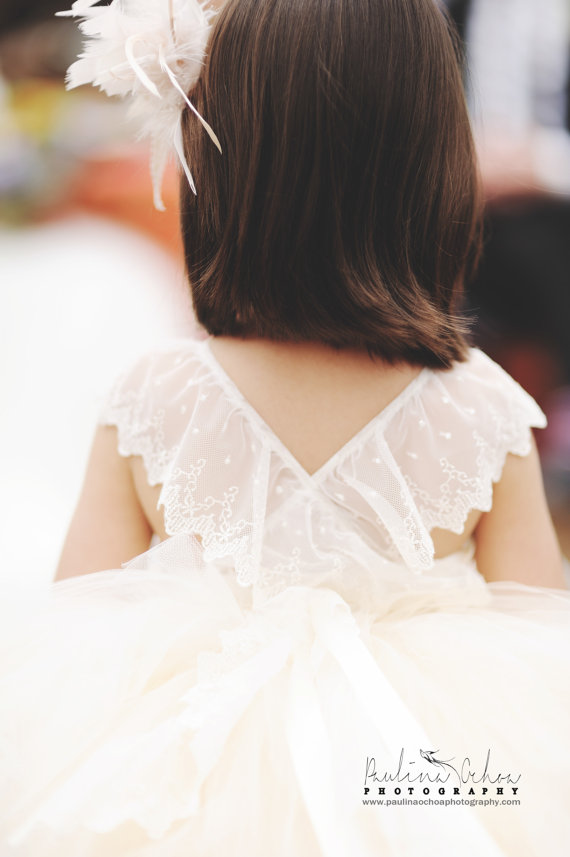 Свадьба - Flower Girl Tutu Dress, lace back flower girl dress, couture flower girl dress