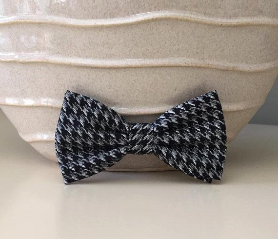 Свадьба - Dog Bow / Bow Tie - Black w Gray Houndstooth