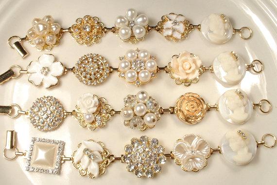 Vintage Earring Bracelet Set 4 OOAK Ivory Pearl Rhinestone Gold