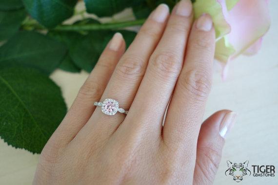 Mariage - 3/4 Carat Halo Wedding Set, Man Made Pink & White Diamond Simulants, Art Deco Engagement Rings, Vintage, Bridal, Promise, Sterling Silver