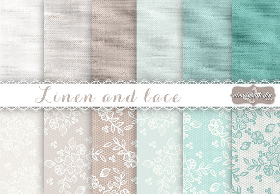 Mariage - Linen and Lace robins egg, Tiffany blue, beige, taupe, wedding invitation digital, lace digital, vintage bridal clipart, linen, burlap