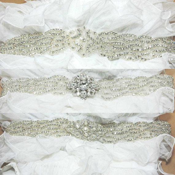 زفاف - Vintage Victorian Rhombus Rhinestone Crystals Wedding Bridal Dress Beaded Applique Belt Sash - Custom Design