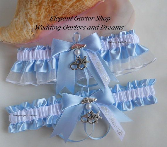 Свадьба - Sheriff Wedding Garter Set Star Badge Charms Handmade Blue White Garters
