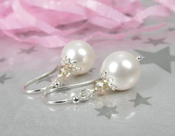 زفاف - White Pearl Earrings - Swarovski Pearl Earrings - Pearl Bridesmaid Gift - Wedding Jewelry - Pearl Bridal Jewelry - White Pearl Drop Earrings