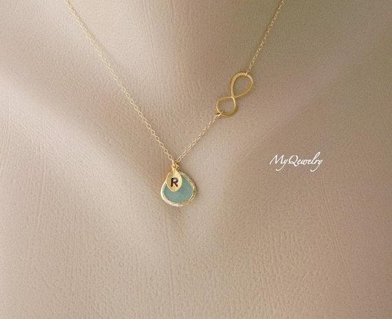 Свадьба - Personalized Infinity Necklace, Initial Necklace, Monogram Jewelry, Initial Jewelry, Graduation Gift, Bridesmaid Gift Ideas, Wedding Jewelry