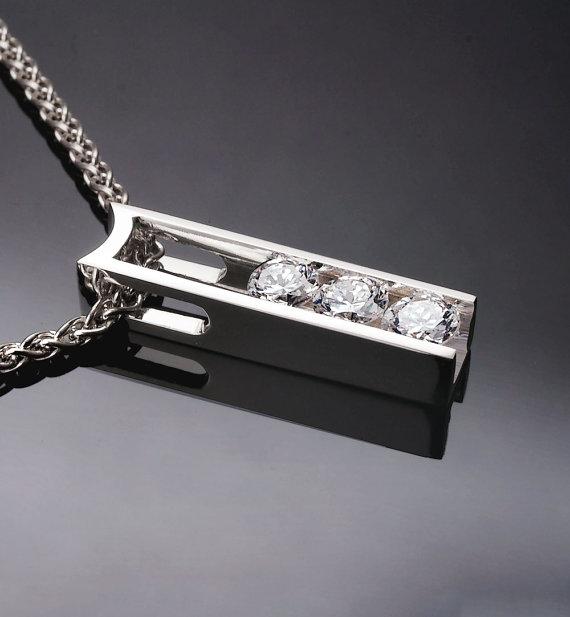 Свадьба - white sapphire necklace - wedding necklace - diamond substitute - tension set jewelry - Argentium silver - 3503