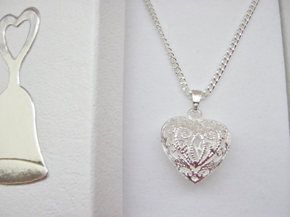 Свадьба - Filigree Heart Pendant Necklace on Silver Plated Chain Flower Girls, Bridesmaids, Maid of Honour Honor Gifts Wedding Jewellery