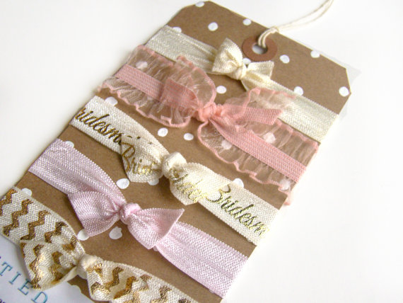 Свадьба - Bridesmaid Gift, Bridesmaid Hair Ties, Stocking Stuffer, FOE, Pastel Hair Ties, Wedding Favor, Small Gift, Pink, Cream, Chevron