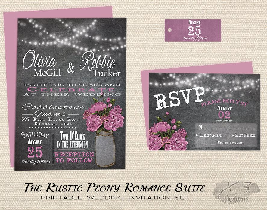 Mason Jar Rustic Wedding Invitation Set Printable Chalkboard County