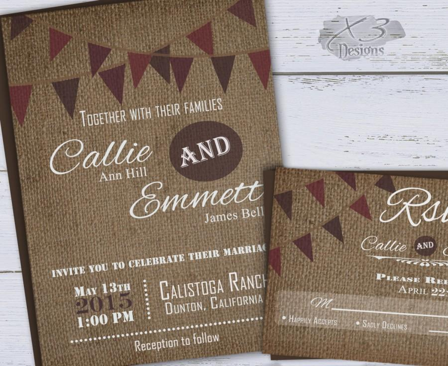 Wedding - Fall Rustic Wedding Invitation w/ Wine Bunting Flags