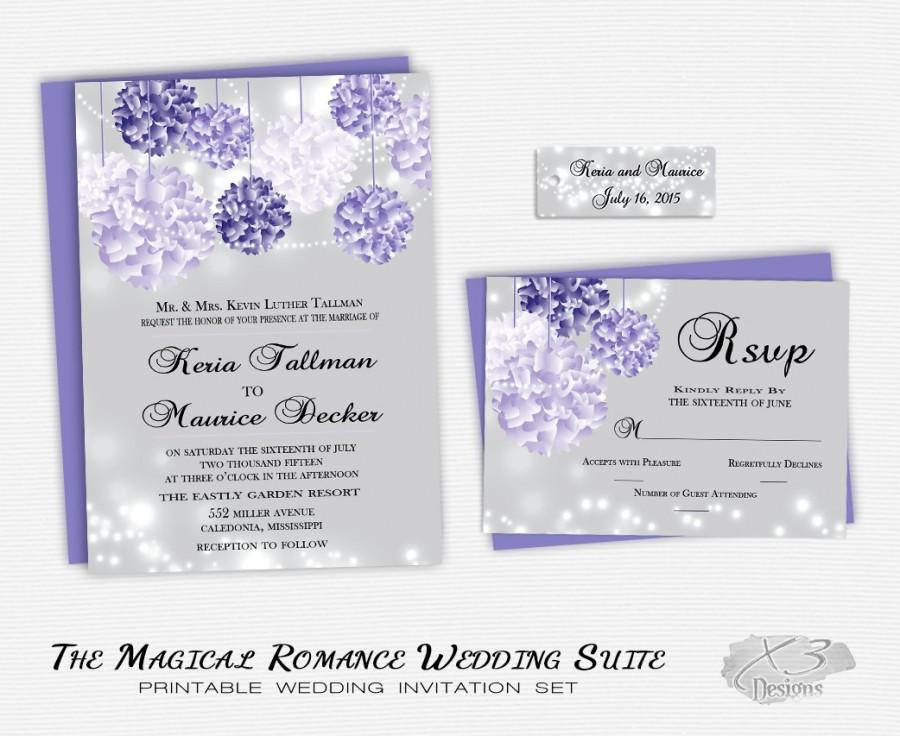 Purple Outdoor String Lights Wedding Invitation Suite- Romantic Country Printable Wedding Invitation w/ Lavender Hanging Flowers DIY  sc 1 st  Weddbook & Purple Outdoor String Lights Wedding Invitation Suite- Romantic ...