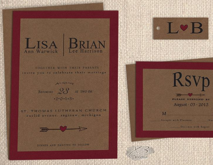 زفاف - Printable Fall Rustic Wedding Invitation Set, DIY Natural Kraft Wedding Invite, Red Winter Barn Wedding Invite, Country Wedding w/Arrow