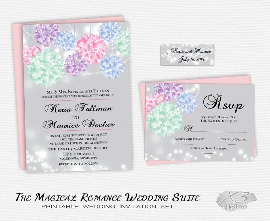 romantic pastel wedding invitation suite printable whimsical