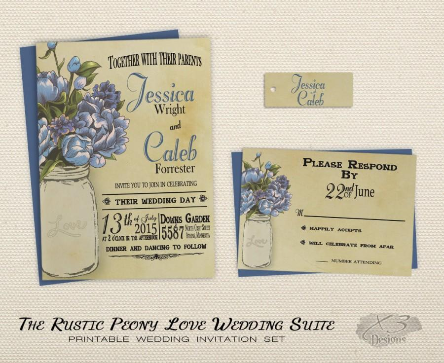 Printable Rustic Wedding Invitation Set, Mason Jar Wedding ...