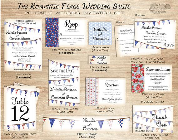 Wedding - Rustic Barn Wedding Invitation Set, Printable Country Wedding Invitation w/ Bunting Flags for Summer - Red and Blue, DIY