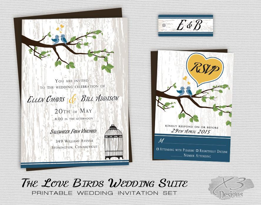 Rustic Country Wedding Invitation Printable Love Birds Wedding