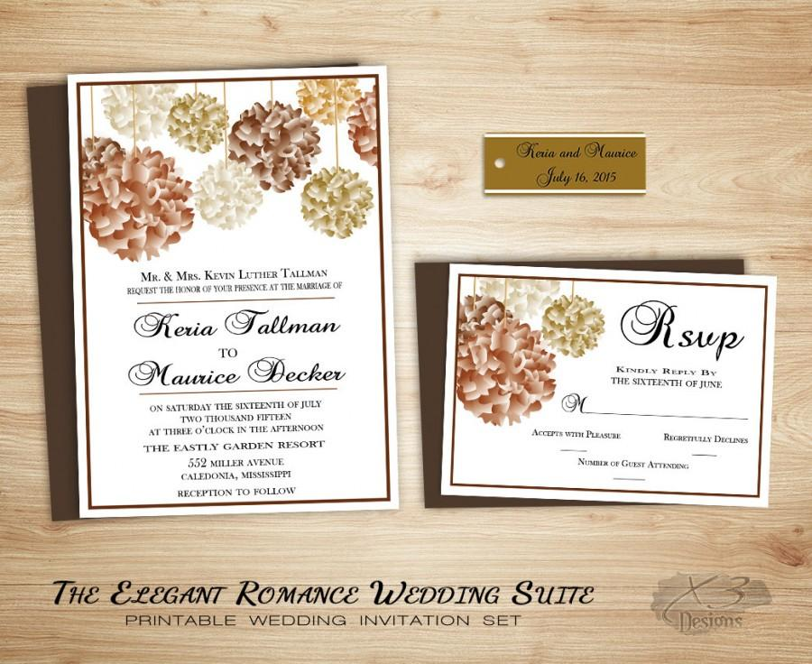 Fall Floral Country Wedding Invitation Suite Printable Romantic