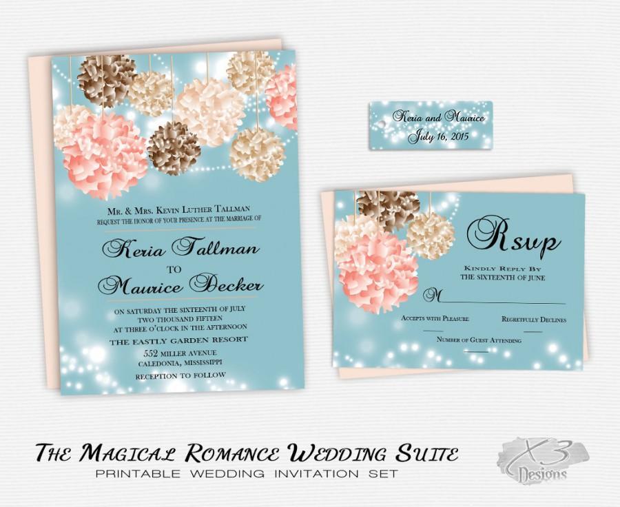 Wedding - DIY Flower Wedding Invitation, Whimsical Wedding Invite, Printable Country Wedding, Summer Elegant String Light Wedding Set, Blue and Pink, Spring, DIY