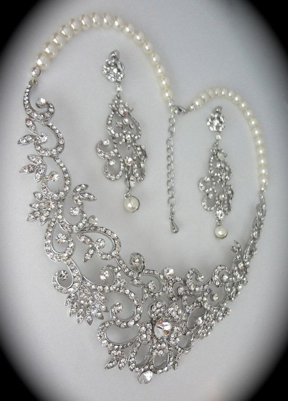 Bridal Jewelry Set ~ Rhinestone And Pearl Necklace And Earrings Set ~ Statement Jewelry ~ Bib ...