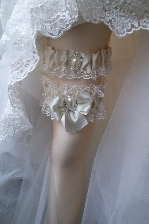 زفاف - Wedding leg garter, Wedding Garter Set , Ribbon Garter Set , Wedding Accessory, İvory Lace accessories, Bridal garter