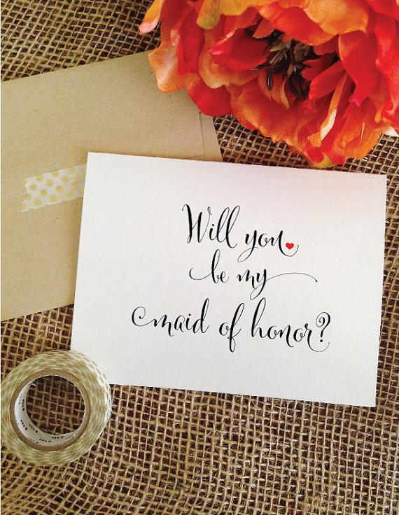 Wedding - Heart- Will you be my maid of honor card asking maid of honor gift Maid of honor Invitation (Stylish)