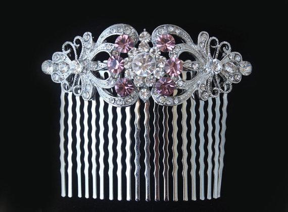 Hochzeit - purple bridal hair comb,amethyst wedding hair comb,purple wedding hair accessories,purple wedding comb,purple bridal hair accessories