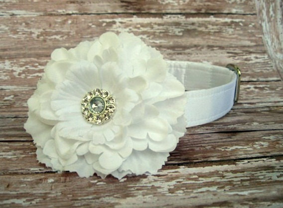 Свадьба - White Satin Dog Collar with Flower Accessory