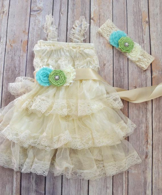 Свадьба - Ivory Lace Flower Girl Dress Headband set, Beach Wedding dress, Aqua Wedding, Green Wedding,  Vintage Style Petti Dress Tutu