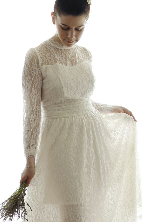 Custom Long-sleeved Vintage Style Lace Wedding Dress - AM1982780 ...