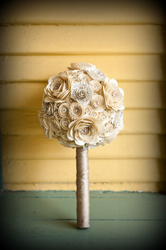 زفاف - Pearls and Crystals Custom Paper Flower Wedding Bouquet