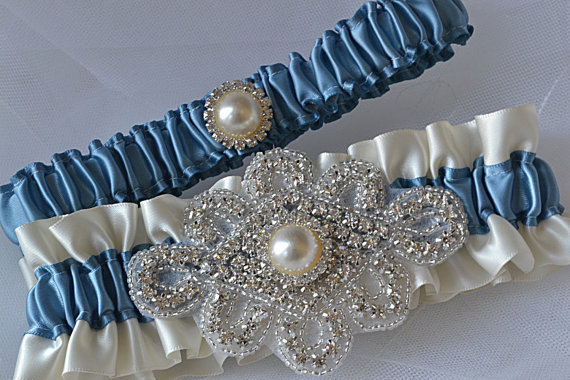 0499db666 Wedding Garter Set - Antique Blue Garters And Ivory Satin With Rhinestone  Embellishments