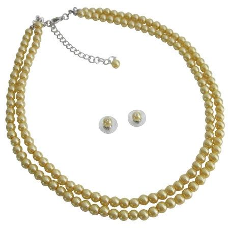 Wedding - Yellow Pearls Double Stranded Economical Wedding Low Price Jewelry Set Free Shipping In USA