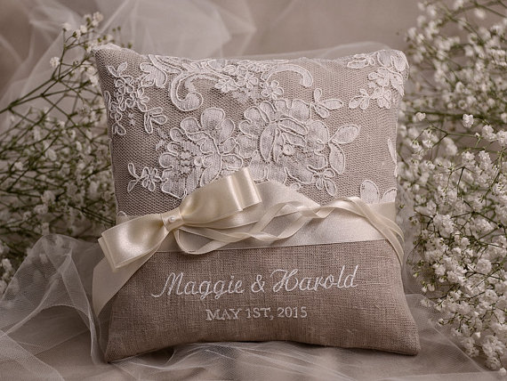 Wedding - Lace Wedding Pillow  Ring Bearer Pillow Embroidery Names, shabby chic natural linen