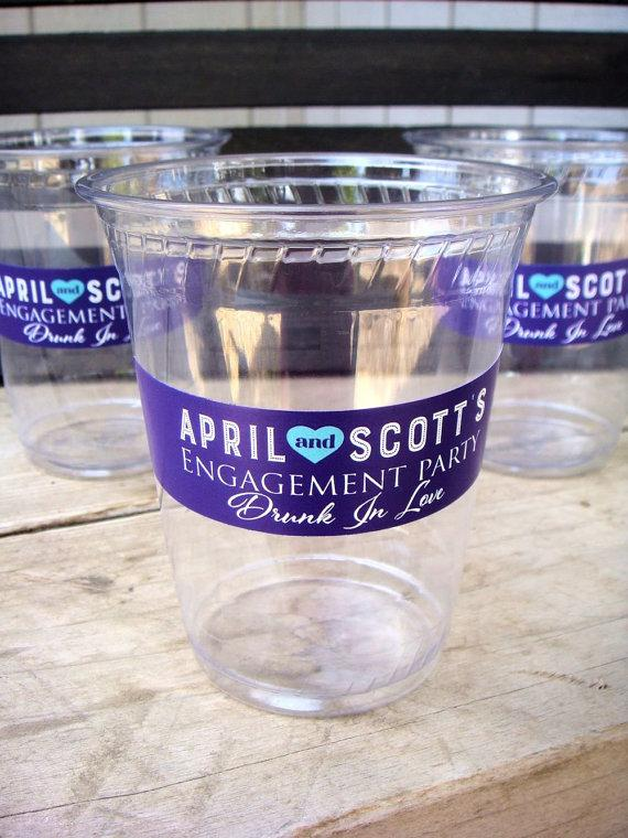 Mariage - Engagement Party Personalized Vinyl Cup Label, 20 Labels