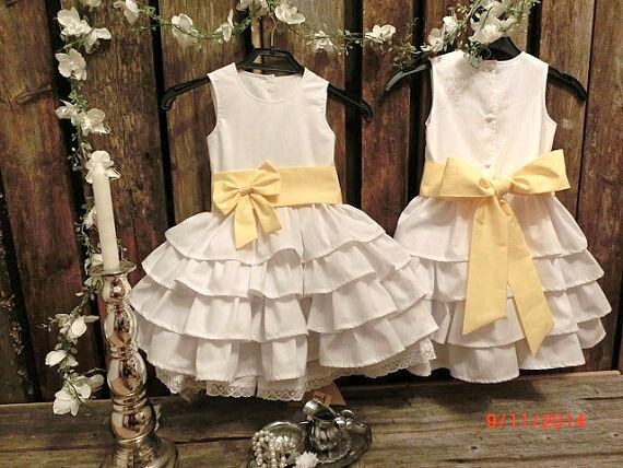 White Cotton Flower Girl Dresses 107