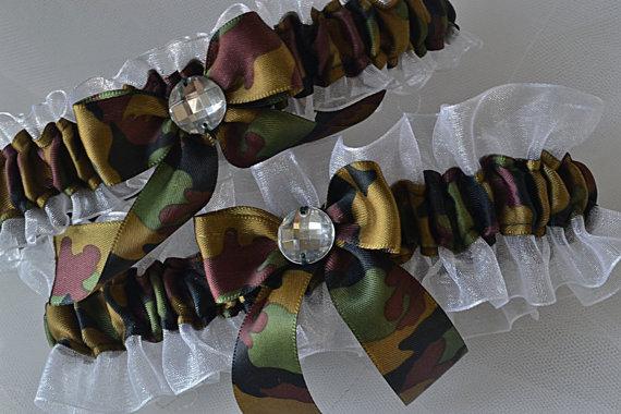 Mariage - Wedding Garter Set, Camo Garters - Camouflage And White Sheer Organza Garters, Prom Garters