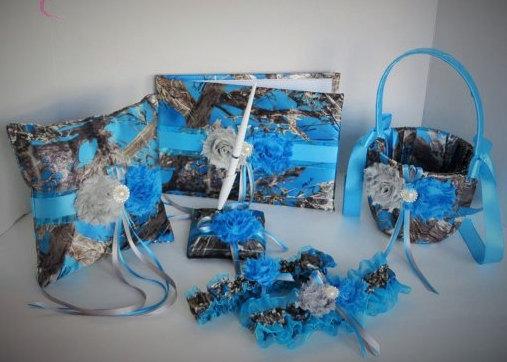 Mariage - Blue Camo Wedding Set, Blue Camouflage Wedding Set, True Timber Mc2 Blue Camo Wedding Set