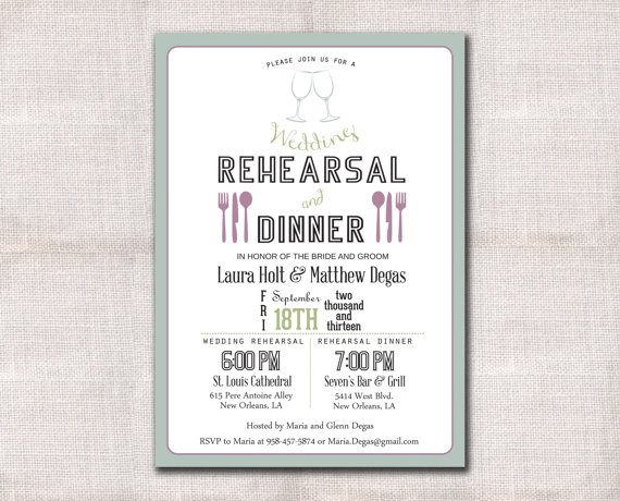 زفاف - Wedding Rehearsal Dinner Invitation Custom Printable 5x7
