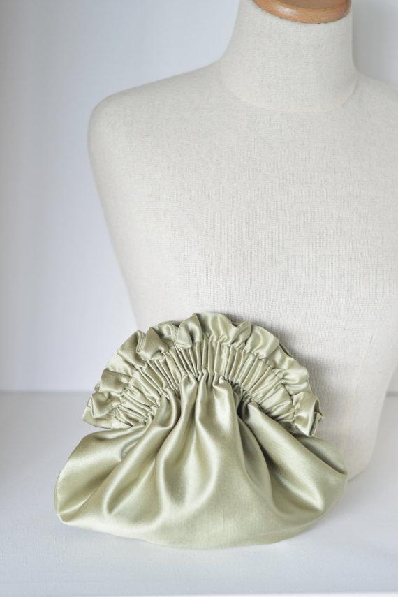 Свадьба - Sage green clutch, small purse, formal clutch, silk clutch,bridesmaid purse,bridal clutch,wedding clutch,bridesmaid gift,evening bag
