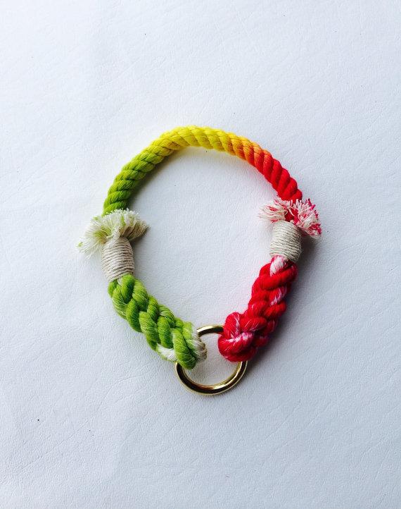 زفاف - Tassel Dog Collar, Ombre dyed, Ombre collar, Dyed Rope, Rope Dog Collar, Nautical Dog Collar, Multi colored dye, tie-dye, tassels
