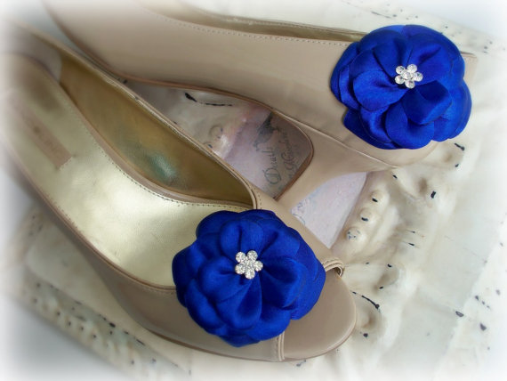 Mariage - Royal Blue Satin Rhinestone Flower Shoe Clips or Hairpins - Bridal Bridesmaids - Wedding Shoe Clips - Exclusive Design- Many Colors