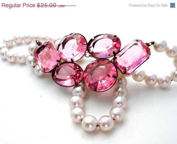 Свадьба - 32% Off Pink Rhinestone Necklace, Vintage Pearls, Rockabilly Jewelry, Fashion Jewellery, Wedding Bridal